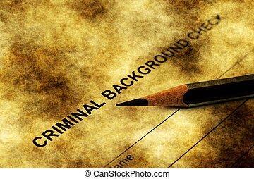 toepassing, crimineel, controleren, achtergrond