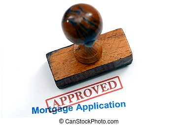 toepassing, -, goedgekeurd, hypotheek
