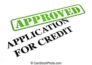 toepassing, goedgekeurd, krediet