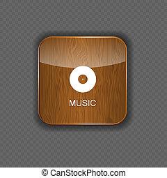 toepassing, hout, muziek, iconen