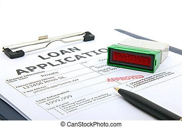 toepassing, lening, goedgekeurd, contracteren