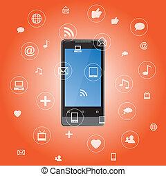 toepassing, media, smartphone, iconen
