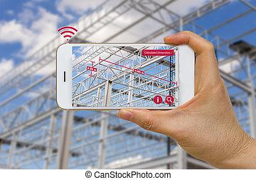 toepassing, van, augmented, realiteit, in, bouwsector,...