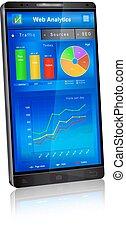 toepassing, web, scherm, smartphone, analytics