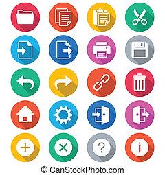 toepassing, werkbalk, plat, kleur, iconen