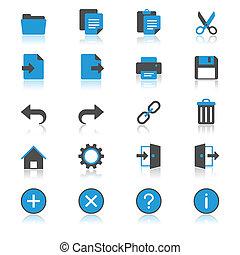 toepassing, werkbalk, plat, met, reflectie, iconen
