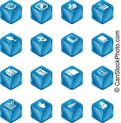 toepassingen, kubus, reeks, set, pictogram