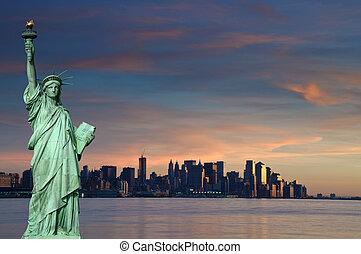 toerisme, concept, new york stad, met, standbeeld, vrijheid