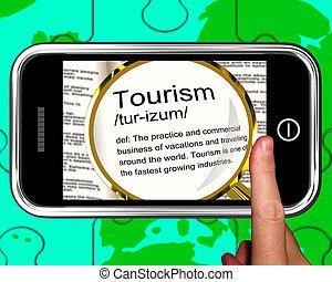 toerisme, definitie, op, smartphone, optredens, het reizen...