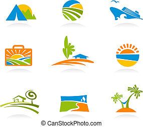 toerisme, en, vakantie, iconen, en, logos