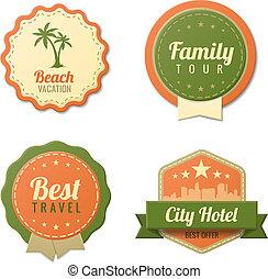 toerisme, ouderwetse , reizen, etiketten, mal, collection., stickers