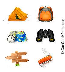 toerisme, pictogram, set, vector