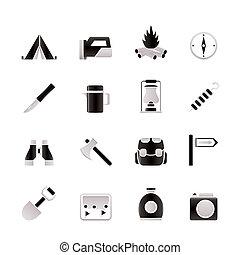 toerisme, wandelende, iconen