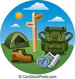 toerisme, wandelende, pictogram