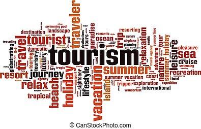 toerisme, woord, wolk