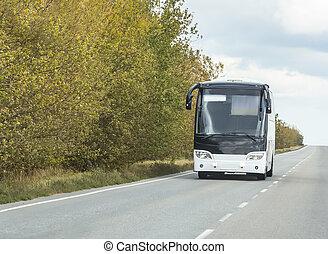 toerist, bus, gaat, op, de, snelweg