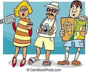 toerist, groep, spotprent, illustratie