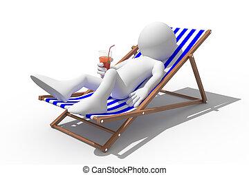 toerist, het liggen, op, een dek, stoel