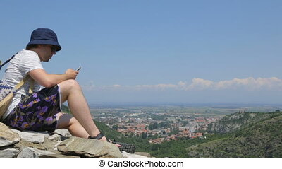 toerist, muur, bergen, steen