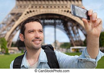 toerist, parijs, boeiend, jonge, aantrekkelijk, selfie