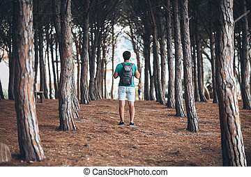 toerist, schooltas, jonge, bos, wandelingen, man
