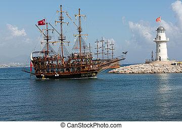 toeristen, het genieten van, zee, reis, op, ouderwetse ,...