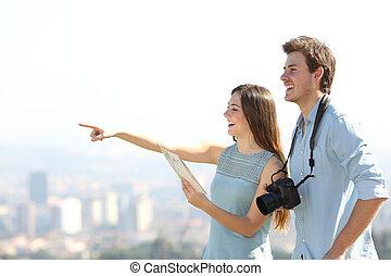 toeristen, stad, sightseeing, outskirts, vrolijke