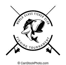 toernooi, badge, visserij