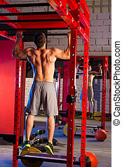Toes to bar man pull-ups 2 bars workout - Toes to bar back...