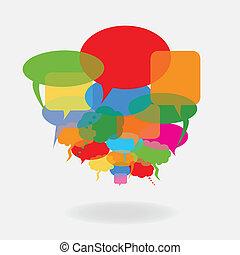 toespraak, ballons, kleurrijke