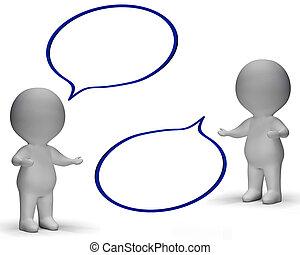 toespraak, bellen, en, 3d, karakters, optredens, discussie,...