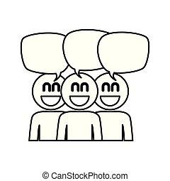 toespraak, bellen, groep, mensen