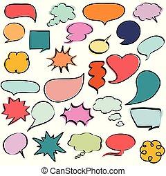 toespraak, bellen, kleurrijke, dialogs, komisch