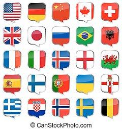 toespraak, bellen, met, land, vlaggen
