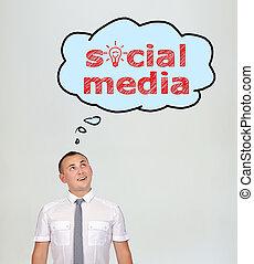 toespraak, bellen, met, sociaal, media