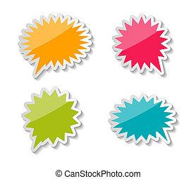 toespraak, bellen, vector, stickers, illustratie