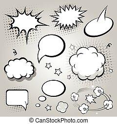 toespraak, black , komisch, vector, bubbles., witte