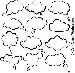 toespraak, clouds.