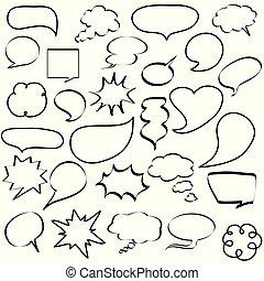 toespraak, dialogs, iconen, bellen, komisch