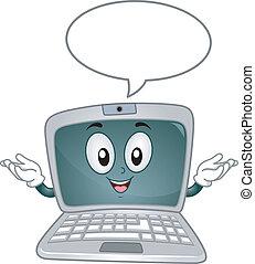 toespraak, draagbare computer, bel, mascotte