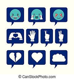 toespraak, emoticons, groep, bellen