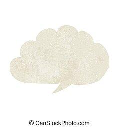 toespraak, karton, bel, wolk
