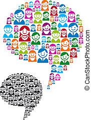 toespraak, mensen, bel, iconen