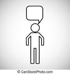 toespraak, mensen, bel, pictogram