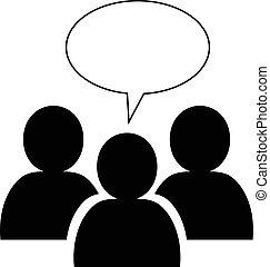 toespraak, pictogram, bel, groep