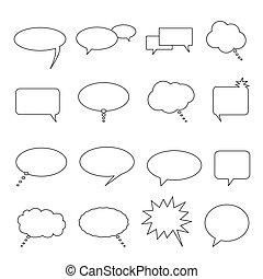toespraak, praatje, en, gedachte, ballons