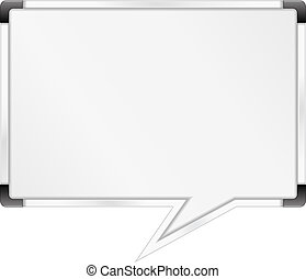 toespraak, whiteboard, bel, gevormd