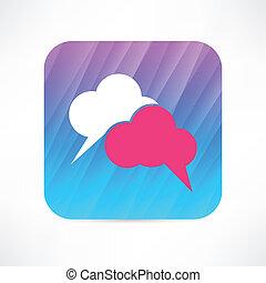 toespraak, wolk, pictogram
