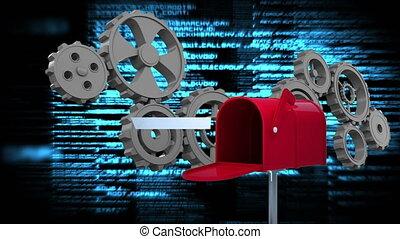 toestellen, rood, brievenbus