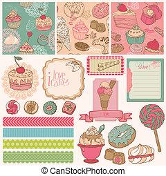 toetjes, cakes, set, afvalmateriaal
